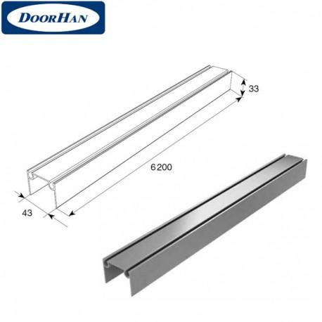 80041/M DoorHan Алюминиевый верхний и нижний профиль металлик (погонный метр)