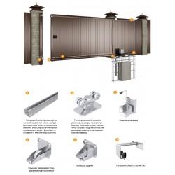 Комплект №1 сдвижных ворот 3500х2100 коричневый RAL8017 DoorHan DHPSN-3500*2100/8017