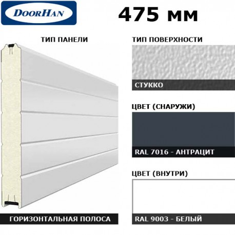 2S00/S00-7016/9003 DoorHan Панель 475мм Нстукко/Нстукко RAL7016/бел(RAL9003) (п/м)