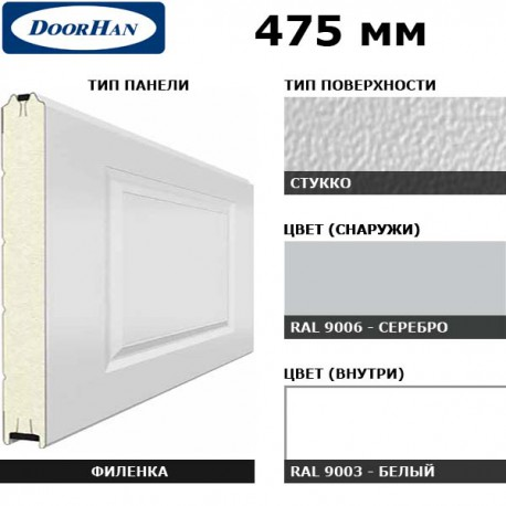 2F230/S00-9006/9003 DoorHan Панель 475мм Нфиленка230/Нстукко серебро(RAL9006)/белая(RAL9003) (п/м)